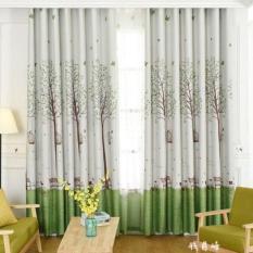 Rèm vải trang trí (có sẵn khoen) – CÂY XANH VÀ LỒNG CHIM PR011 nhaxinhnhadep (Mới)