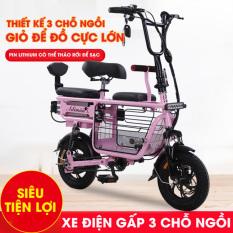 Xe Đạp Điện Mini ADIMAN Giỏ To X1. 3 Ghế Ngồi (Pin Lithium 48v-20A)