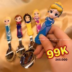 Muỗng ăn nổi 3D inox hình 5 nàng công chúa Frozen , Anna , Elsa , Bạch tuyết , Lọ lem , Rapunzel cho trẻ em hàng Disney