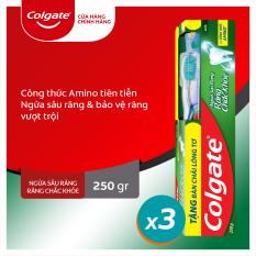 Bộ 3 kem đánh răng Colgate ngừa sâu răng răng chắc khỏe 250g/ tuýp tặng bàn chải lông tơ cao cấp Thái Lan