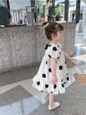[[MẪU MỚI]] Váy bé gái chấm bi đuôi cá nơ cổ cực xinh cho bé – VBG-CBDC