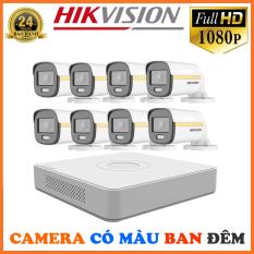 Bộ Camera Quan Sát Có Màu Ban Đêm Hikvision 8 Kênh Full HD 1080P – Trọn Bộ 8 Camera An Ninh Hikvision Quay Có Màu Ban Đêm Đầy Đủ Phụ Kiện Lắp Đặt