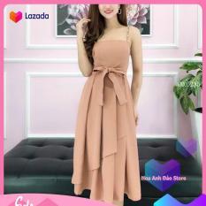 [ Đầm Đẹp ] Đầm Nữ Xòe 2 Dây Buộc Nơ Eo Thời Trang Hoa Anh Đào