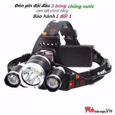 Đèn Đội Đầu 3 Bóng T6 Siêu Sáng (tặng kèm 2 pin sạc + adapter)