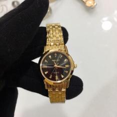 Đồng hồ nữ Halei HL502 vàng mặt đen chống xước, chống nước