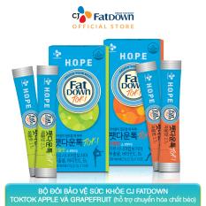 Bộ đôi bảo vệ sức khỏe CJ FATDOWN TOKTOK hỗ trợ chuyển hóa chất béo (APPLE 2.7g x 10 + GRAPEFRUIT 2.7g x 10)