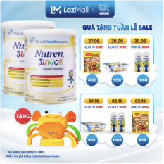 [GIẢM 35K ĐƠN TỪ 1 TRIỆU] Bộ 2 lon Sản phẩm dinh dưỡng y học 2 lon Nutren Junior cho trẻ từ 1-10 tuổi 800g + Tặng Bộ mền gối con cua