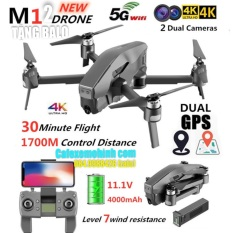 Flycam M12 camera 4k pin trâu 4000mah Động cơ Brushless bay 1600m gấp gọn tặng Balo