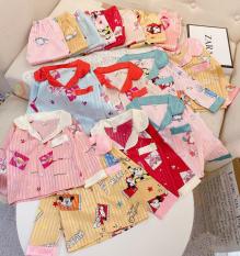 [ Babi mama ] Set Quần Áo Trẻ Em Mặc Nhà Bộ Đồ Ngủ Pijama Lụa Gấm Dài Tay Cho Bé Size 10-24kg – BPN04