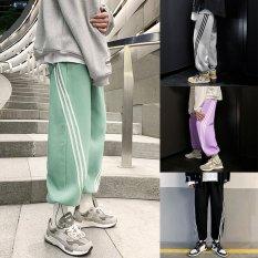 Quần jogger thể thao unisex N7 4 màu phong cách nam nữ nỉ cao cấp da cá bó chun bigsize thu đông basic pants sọc chéo