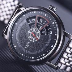 Đồng hồ nam YAZOLE 510 dây da – dây thép màu đen Chính Hãng