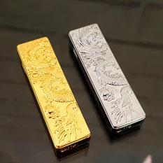 Bật Lửa Gas Khò Trượt Dọc Dạng Thỏi Dập Nổi Hình Rồng Cực Đẹp(vàng,bạc)