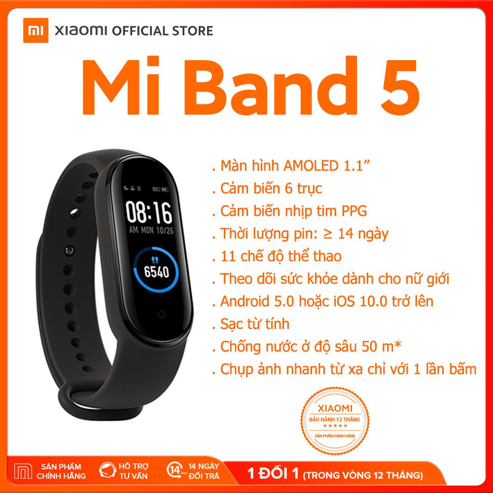[XIAOMI OFFICIAL] Vòng đeo tay thông minh Xiaomi Mi Band 5 – Màn hình AMOLED 1.1″ Chống nước 5ATM, Theo dõi sức khỏe, kết nối Bluetooth, hỗ trợ tiếng Việt – Hàng chính hãng – Bảo hành 12 tháng