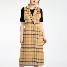 Áo khoác gile dạ, cổ vest LAMER L65G18T065 (Vàng/Đen)