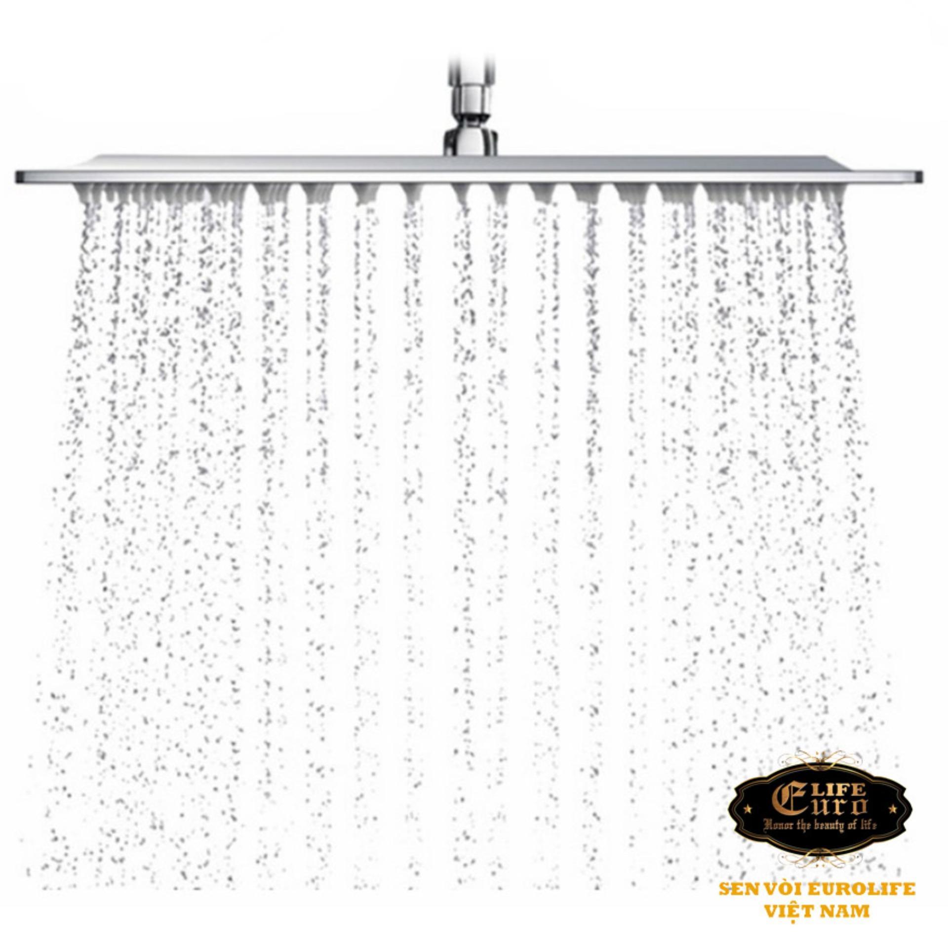 Đài sen tắm Inox SUS 304 Eurolife vuông EL-DSV20 (Trắng vàng)