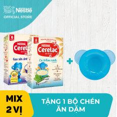 [GIẢM THÊM 20K ĐƠN 199K] Bộ 2 hộp Bột ăn dặm Nestlé Cerelac 200g Gạo Sữa Dinh Dưỡng và Cá – Rau xanh + Tặng 1 bộ chén ăn dặm