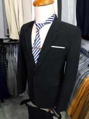 Bộ vest nam form suông 2 nút màu đen chất vải dày mịn co giãn + cà vạt kẹp