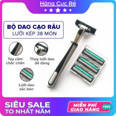 Bộ dao cạo râu lưỡi kép 38 món cho nam giới – Trọn bộ gồm 1 thân dao, 36 lưỡi dao kép, 1 tuýp kem cạo râu tiện lợi – Shop Hàng Cực Rẻ