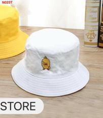 Nón Bucket tai bèo Vàng thêu gà vịt con nam nữ (Size người lớn), nón vành bánh bèo đen trơn thêu hót nhất thời trang hàn quốc