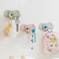 Móc dán treo tường hình voi 3 móc xoay 180 độ thu gọn   Móc dán tường siêu chắc chịu lực dính cute 3d   Móc treo để dao kéo thớt khăn cho phòng bếp phòng tắm