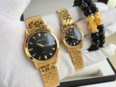 đồng hồ đôi halei,dây vàng mặt đen,HLAD5025M,chống nước,chống xước