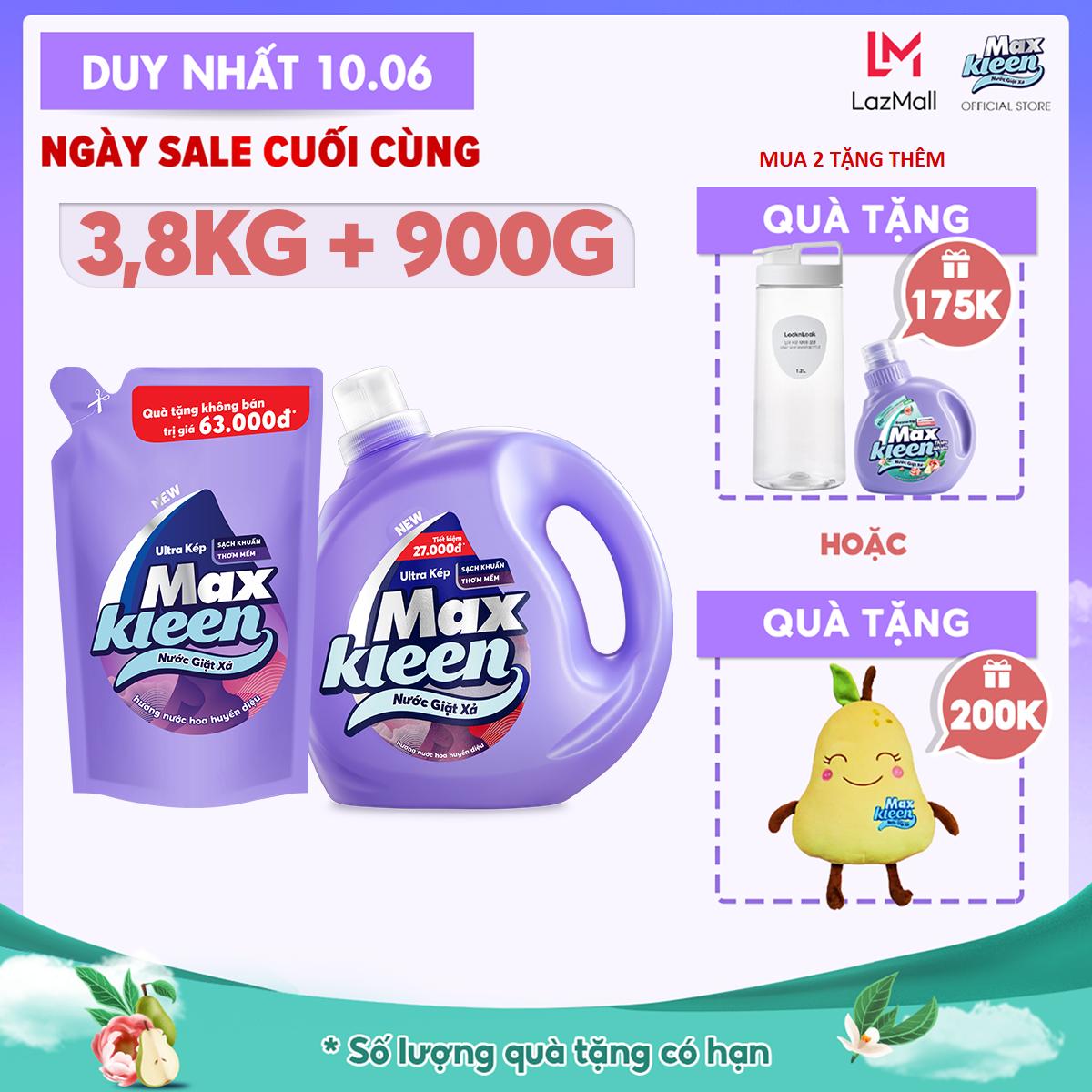 Combo Nước Giặt Xả MaxKleen Hương Nước Hoa Huyền Diệu: Chai 3.8kg + Túi 900g
