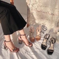Sandal nữ 7p gót khuyết da bóng siêu đẹp