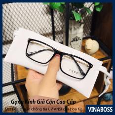 Gọng kính cận nam nữ không độ cao cấp tròng chống tia UV – Kính giả cận nam nữ Hàn Quốc gọng kim loại VN8058- Tặng kèm hộp đựng và khăn lau