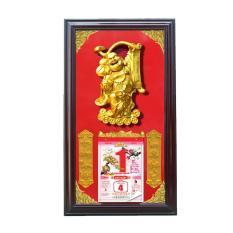 Lịch Gỗ Phù Điêu Khắc Nổi Phật Di Lặc – Màu Đỏ
