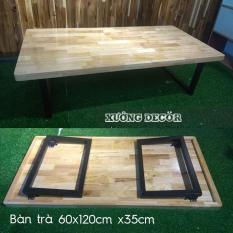 Bàn trà xếp gọn kiểu Nhật 60x120cm bo 4 góc dầy 3,3cm cao 35cm