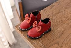 giày bốt bé gái size 26-36 nơ nhũ da mềm