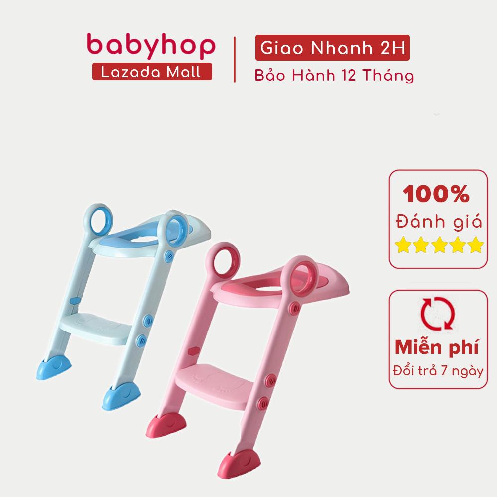 Thang bô vệ sinh Babyhop, nắp bồn cầu cho bé trai và gái, bệ ngồi toilet cho trẻ sơ sinh, có khung đệm lớn, có nắp thu nhỏ bồn cầu – Thang bô Babyhop