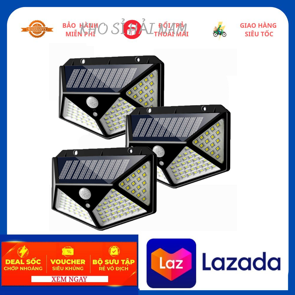 Đèn năng lượng mặt trời 100 LED – 3 chế độ sáng đèn cảm biến hồng ngoại