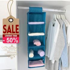 Tủ vải treo 5 ngăn đa năng (Màu xám )