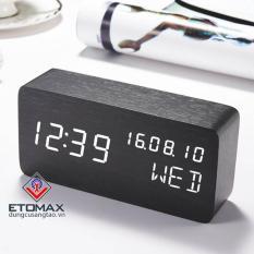 Đồng hồ báo thức điện tử vỏ gỗ cao cấp CYP-016