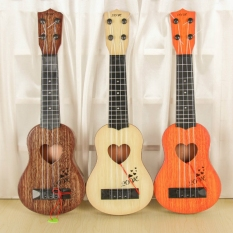 Early Childhood Education Guitar Toy Classical Ukulele Guitar Instrument Simulation Small Guitar Kindergarten Instrument Four-String Guitar Can Play Ukulele-Orange