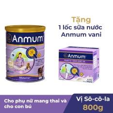 Sữa bột Anmum Materna hương Sô-cô-la 800g tặng 1 Lốc 4 hộp sữa nước vani 125ml