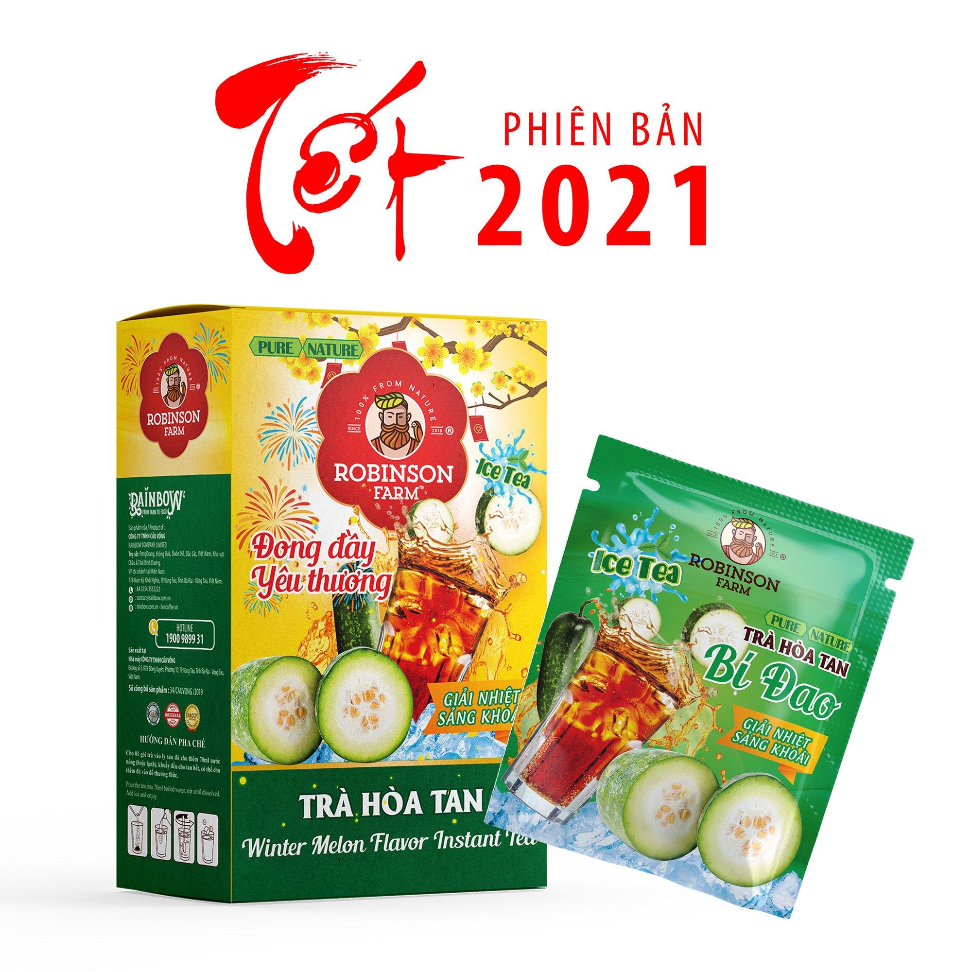 Trà Hoà Tan Vị Bí Đao Robinson Farm - 270g ( 18 gói x 15g ) - Thơm vị trà...