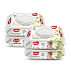 Combo 4 Gói Khăn giấy ướt cho trẻ sơ sinh Huggies không mùi, gói 64 tờ