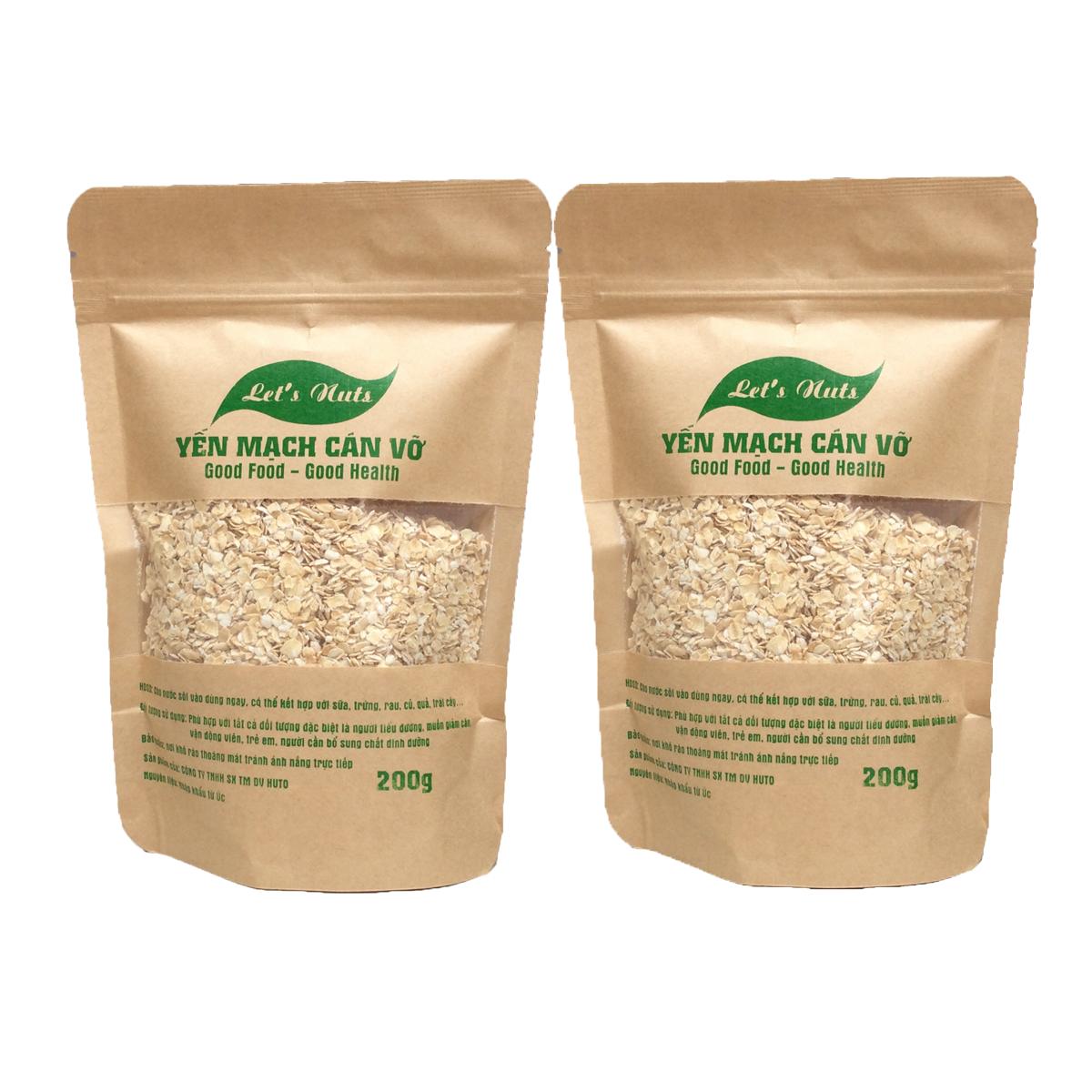 2 gói hạt yến mạch cán vỡ Let's Nuts làm ngũ cốc giảm cân, bột yến mạch, người tập gym, bổ sung chất dinh dưỡng túi 200g Let Nuts