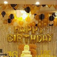 Set bóng trang trí sinh nhật HAPPY BIRTHDAY 50 bóng nhũ kèm 2 rèm kim tuyến bạc, bơm keo