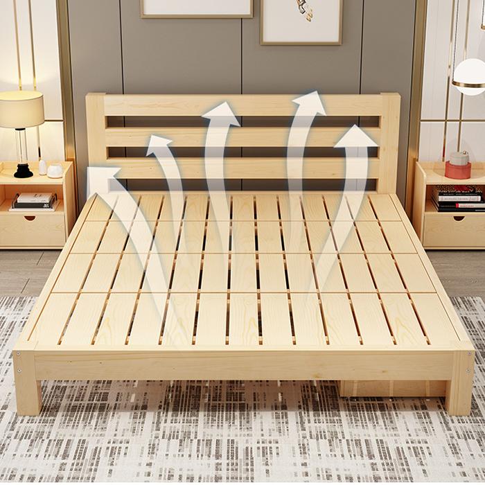 Giường gỗ thông hiện đại 1m8 x 2m GUT001