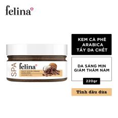 Tẩy tế bào chết Felina dạng kem 220g – Hạt cà phê và tinh dầu dừa