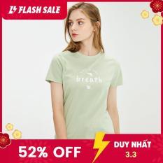Áo thun nữ tay ngắn in quote trẻ trung chất cotton form vừa người Giordano 05391203