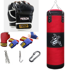 Sét vỏ bao cát đấm bốc boxing + Găng đấm mma walon + Băng đa walon 3 mét – tặng kèm dây xích + móc treo + vít nở sắt