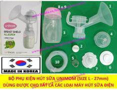 Bộ phụ kiện phễu chụp hút sữa UNIMOM UM880029 (Size L) (Made in Korea) – Dùng cho tất cả các máy hút sữa điện đơn & đôi: Medela, Philips Avent, Spectra, Ameda, Unimom, Sanity, Rozabi, Real Bubee, Penapple, Allegro, Minuet, K-POP