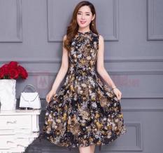 Đầm dáng xòe hoa không tay vải thun nhập thời trang