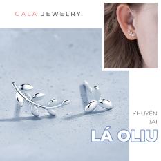 Bông tai nữ Gala hình Lá Oliu lệch KT01 – Khuyên tai bạc 925 cá tính kiểu lệch