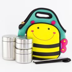 Bộ hộp cơm giữ nhiệt Lock&Lock gồm 1 hộp 450ml (Giữ nhiệt) , 2 hộp 420ml 280ml (không giữ nhiệt) 1 đôi đũa, 1hộp đựng đũa, tặng túi đeo hình con ong