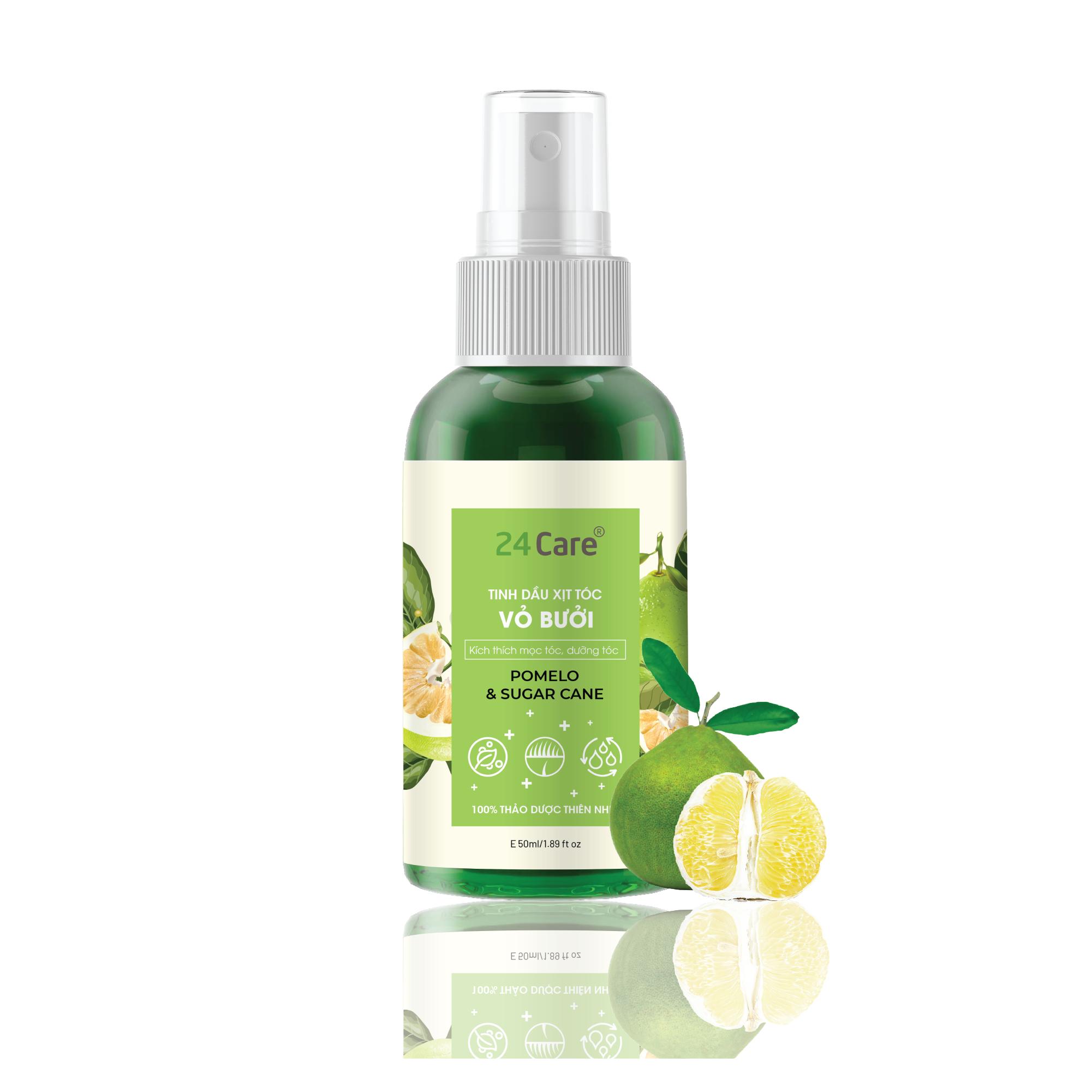 Xịt tóc Chiết xuất Vỏ bưởi 24Care 50ML – Xịt tóc tinh dầu thiên nhiên hữu cơ, cho tóc dày mượt và ngăn ngừa gãy rụng
